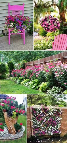 MENTŐÖTLET - kreáció, újrahasznosítás: Virágos kert Front Yard Garden Design, Garden Yard Ideas, Diy Garden Projects, Garden Paths, Garden Art, Beautiful Home Gardens, Planting Succulents, Garden Inspiration, Backyard Landscaping