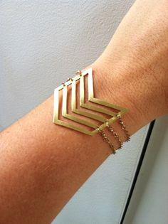 Brass Chevron Gold Filled Chain Bracelet by GLAMROCKSdesigns, $75.00