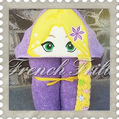 3D Long Haired Princess hooded towel design. #Embroidery #Applique