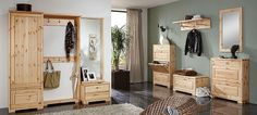 Garderoben Set - Landhausstil - Kiefer Massivholz lackiert
