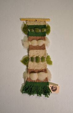 Weaving Wall Hanging Green & White by 278studio on Etsy