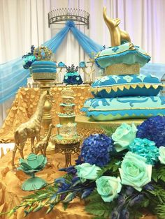 A luxurious Moroccan Prince Baby Shower! Just look at that cake! Wow! See more party ideas at CatchMyParty.com