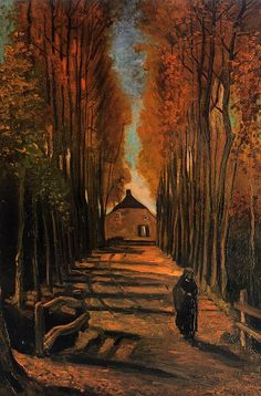 VINCENT VAN GOGH. Avenue of Poplars in Autumn, 1884, oil on canvas. Post Impressionism.