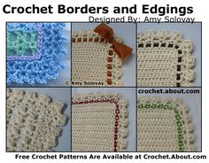 Get free patterns for crochet lace edgings, trims, borders, and fringe -- suitable for blankets, afghans, clothing, linens, scarves or other projects.