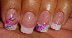 Spring nail art with decoartion and brocade like this without the flares behind the one flower