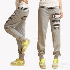 2014 Spring New Women's Cartoon Monkey Sports Pants Loose Casual Pants Cotton Harem Pants W197 € 9,52