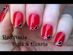 Dot Heart Red Nail