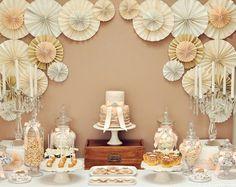 Wedding dessert table. Like the wall decor.