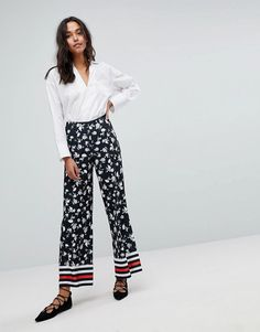 ASOS Wide Leg Pants in Floral Print with Sports Detail - Black