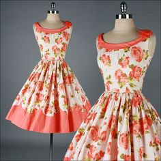 Pretty 1950s floral print dress with orange trim, by Miss Trudie Jr of California.