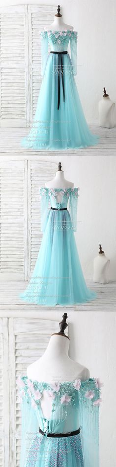 Green tulle beads long prom dress green beads evening dress