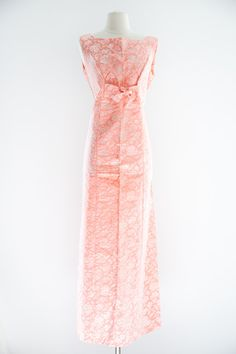 Peach Damask Dress. MED LG.  60s Sleeveless Gown. // Hand Made. on Etsy, $75.00
