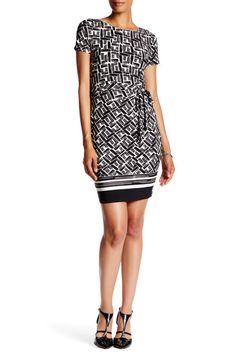 Short Sleeve Matte Jersey Side Tie Printed Dress