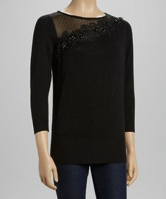 Joseph A Black Rhinestone Flower Sweater