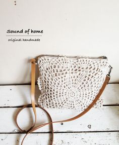 Linen crochet doily 2 way messenger bag leather mori girl shabby chic handmade zakka