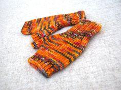Fingerless Gloves for Toddlers Orange Dark Grey von frostpfoetchen