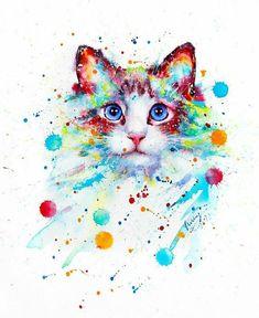 Animal watercolor paintings watercolor art print featuring the Watercolor Cat, Watercolor Animals, Watercolor Paintings, Cat Paintings, Tableau Pop Art, Cat Clipart, Colorful Animals, Colorful Animal Paintings, Cat Wallpaper