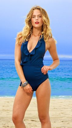 Lauren Ruffle One-Piece in Navy