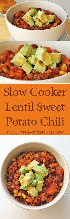 Nothing says comfort meal like this hearty Lentil Sweet Potato Chili made in the slow cooker.