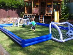 I'm not a big soccer fan but this looks like too much fun for a kid! But hockey instead of soccer! Soccer Birthday, Soccer Party, Sports Party, 2nd Birthday, Kids Boy, Baby Kids, Boys, Backyard For Kids, Backyard Play