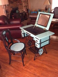 Antique Sewing Machine Cabinet to Vanity Upcycle [ Wainscotingamerica.com ] #DIY #wainscoting #design