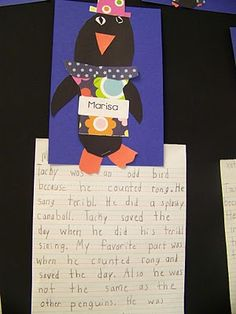 """We finished up writing a text-to-self connection with """"Tacky the Penguin.""""  The kids created some amazing penguins and did a fabulous job connecting the text to themselves."""