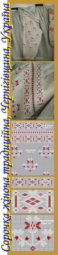 Нарукавна вишивка на жіночій сорочці з Чернігівщини,  Україна