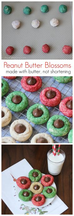 Peanut Butter Blossoms - soft and chewy peanut butter cookies are dressed up for Christmas with red and green sugar and are topped with a Hershey's kiss!  Made with butter, not shortening! | ChezCateyLou.com .