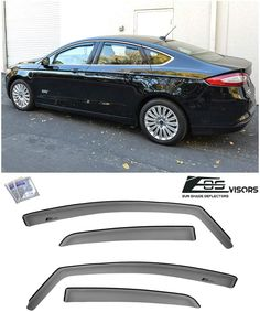 For 13 Up Ford Fusion In Channel Smoke Tinted Side Window Visors Rain Deflectors Window Deflectors Ford Fusion Visors