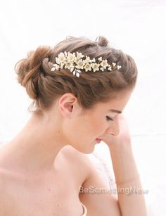 Bridal Hair Vine Pearl and Flower Vintage by BeSomethingNew