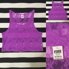 PINK Victoria's Secret crop tank top sz M ✌️ PINK Victoria's Secret crop tank top sz M ✌️ great used condition, lace crop top fuchsia purple color, material 100% polyester See other PINK and Victoria's Secret listings in my closet PINK Victoria's Secret Tops Crop Tops