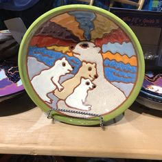 Polar bears cuddle up on this bowl made by the Quilting Potter Donna Rennick. Holiday Market, Polar Bears, Cuddle, Christmas Eve, Gift Guide, Kitchens, Quilting, Entertaining, Marketing