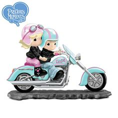 Precious Moments Hope Goes The Distance Figurine  FIRST-EVER Precious Moments motorcycle figurine dedicated to breast cancer awareness. Limited-edition. Portion of proceeds donated.