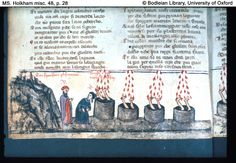Dante, Inferno, Canto 19. Virgil stands beside Dante, who listens to Nicholas III among the simonists. From my favorite illustrated Comedia, the Holkham Dante (MS. Holkham misc. 48, Bodleian Library, Oxford)