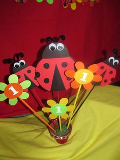 Ladybug Birthday Party Centerpiece by DreamComeTrueParties on Etsy Ladybug Centerpieces, Kids Party Centerpieces, Centerpiece Ideas, Decorations, 1st Birthday Girls, First Birthday Parties, Birthday Ideas, Ladybug 1st Birthdays, First Birthdays