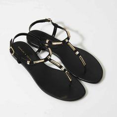 f2f5fdcd2fd6e9 Embellished Flat Sandals - Black - Flats - Shoes