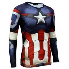 Men Marvel DC Comics The Avenger Cosplay Long Sleeve T-shirt Captain America Top