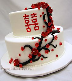 Double Happiness Wedding Cake by Pink Cake Box