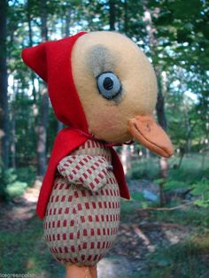 Jan Shackelford OOAK The Marvelous Toy Little Red Riding Duck soft sculpture