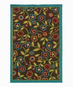 Look at this #zulilyfind! Brown & Turquoise Floral Ivy Indoor/Outdoor Rug by Oriental Weavers #zulilyfinds