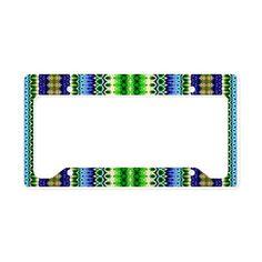 Blue Green Aztec Tribal Patte License Plate Holder on CafePress.com