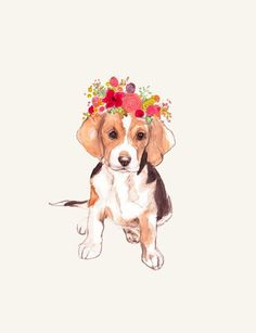 Beagle in Flower Crown by annatyrrell on Ets #beagle in Flower Crown by annatyrrell on Etsy
