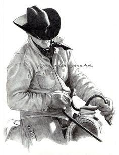 Beautiful Cowboy drawing! Cowboy Horse Western, Drawing: Digital Download Print Your Own   JoyfulArt - Drawing on ArtFire