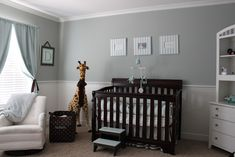 Nursery: grey walls,