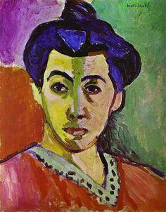 Henri Matisse >> Madame Matisse, A Linha Verde (La Raie verte)  |  (óleo, obra, reprodução, cópia, pintura).