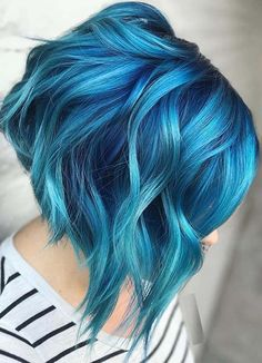 Beautiful blue color melt for bold look in 2020 Blue Ombre Hair, Ombre Hair Color, Hair Color Balayage, Cool Hair Color, Blue Hair Colors, Short Blue Hair, Dyed Hair Blue, Ombre Hair Rainbow, Cool Hair Dyed