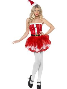 Look like a Christmas delight in this Santa Tutu Womens costume. This great costume includes a tutu-style dress with printed belt and buttons. With this costume you are sure to be Santa's favourite helper Costumes Avec Tutu, Santa Costumes, Halloween Costumes, Simply Fancy Dress, Christmas Fancy Dress, Christmas Fashion, White Christmas, Santa Dress, Kids Fashion