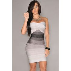 Grey Strapless Ombre Bandage Dress LAVELIQ ($106) ❤ liked on Polyvore featuring dresses, petite dresses, mini dress, summer cocktail dresses, long-sleeve mini dress and gray cocktail dress