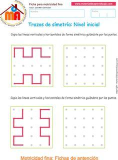 Fichas imprimibles detrazos de simetría conactividades para trabajar la motricidad fina. A continuación presentamos 3cuadernilloscondiferentes niveles
