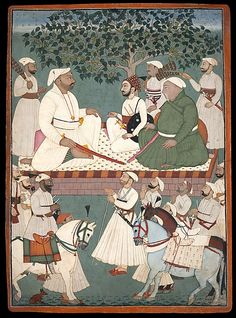 """Maharaja Sidh Sen receiving an embassy"", painting by a master of the Mandi atelier, ca. 1700–10, India (Himachal Pradesh, Mandi), source: The Metropolitan Museum of Art"